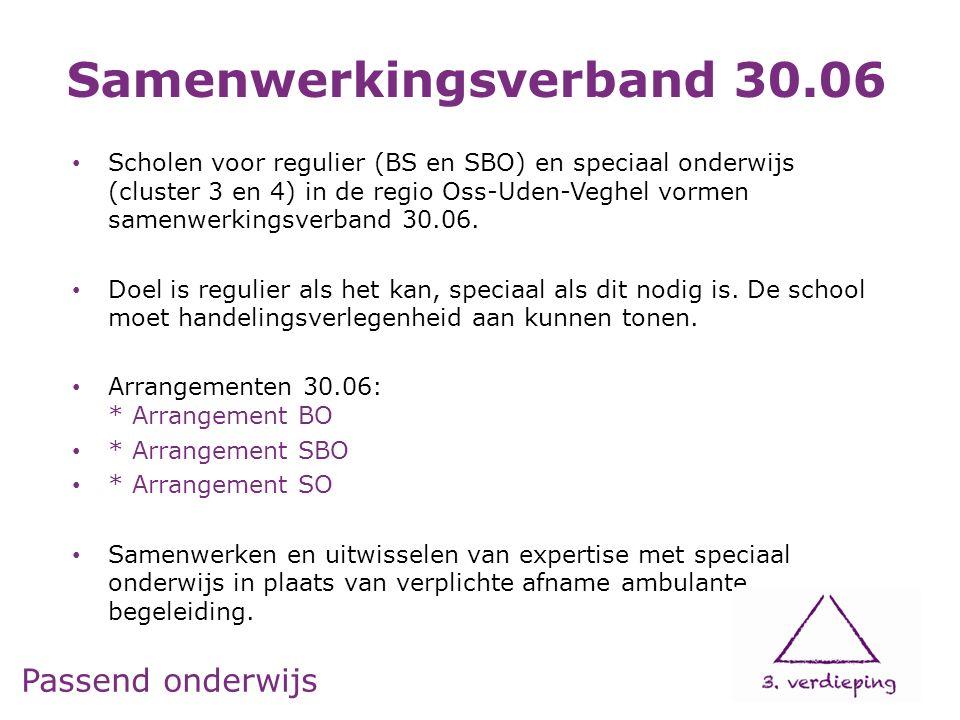 Passend onderwijs Scholen voor regulier (BS en SBO) en speciaal onderwijs (cluster 3 en 4) in de regio Oss-Uden-Veghel vormen samenwerkingsverband 30.06.
