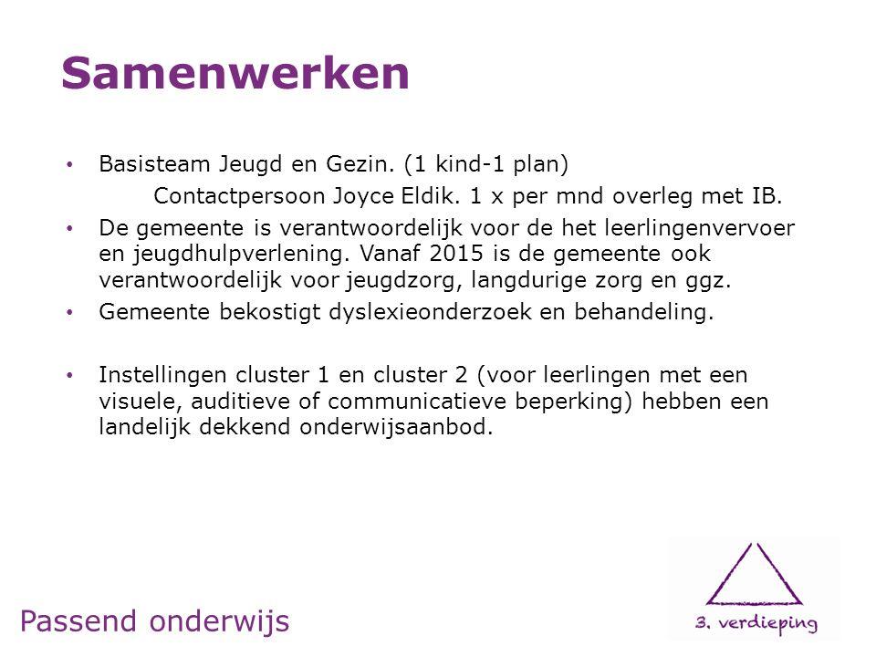 Passend onderwijs Basisteam Jeugd en Gezin. (1 kind-1 plan) Contactpersoon Joyce Eldik.