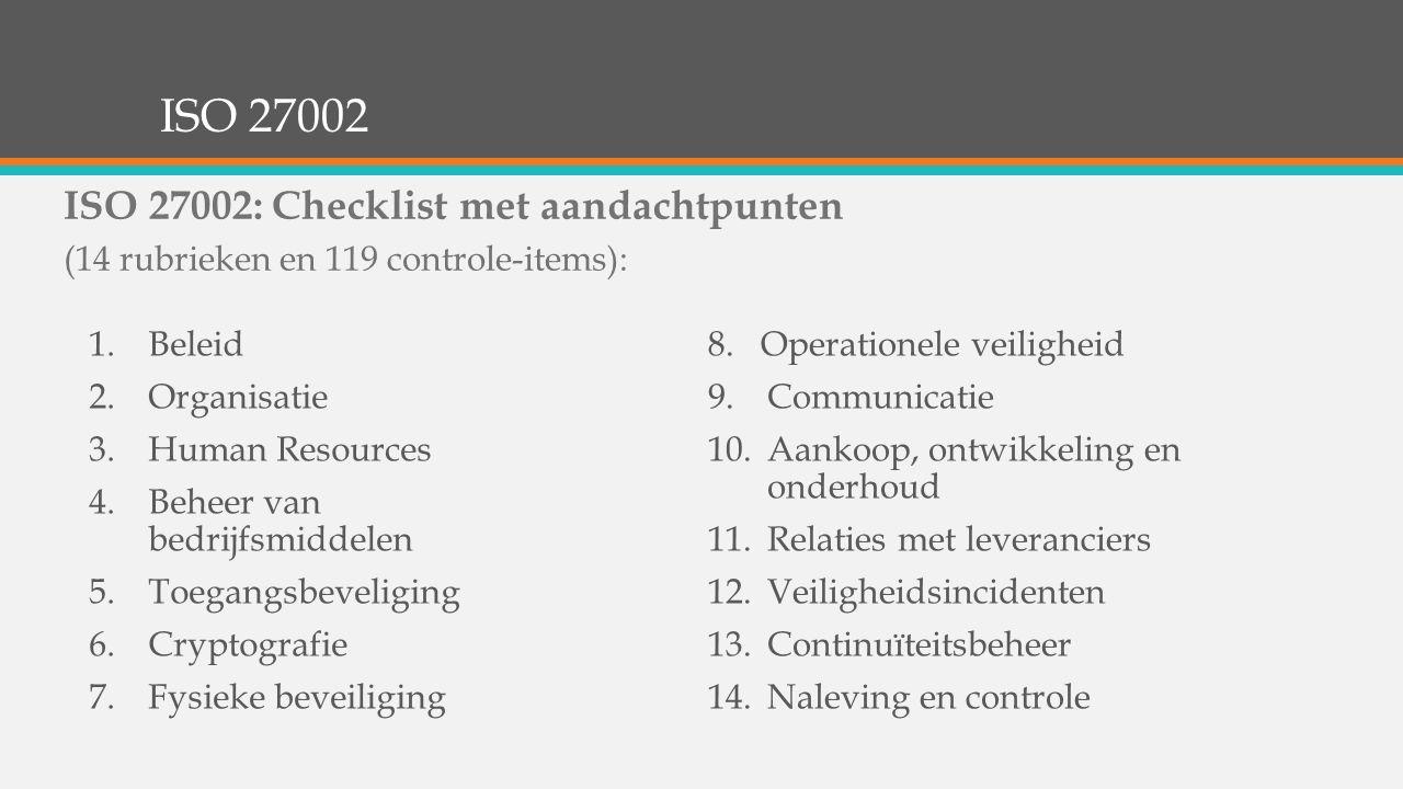 ISO 27002 1.Beleid 2.Organisatie 3.Human Resources 4.Beheer van bedrijfsmiddelen 5.Toegangsbeveliging 6.Cryptografie 7.Fysieke beveiliging 8.Operation