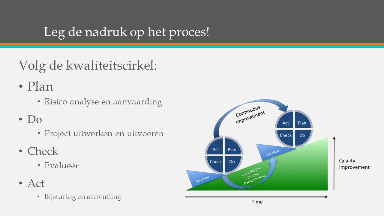 Leg de nadruk op het proces! Volg de kwaliteitscirkel: Plan Risico analyse en aanvaarding Do Project uitwerken en uitvoeren Check Evalueer Act Bijstur