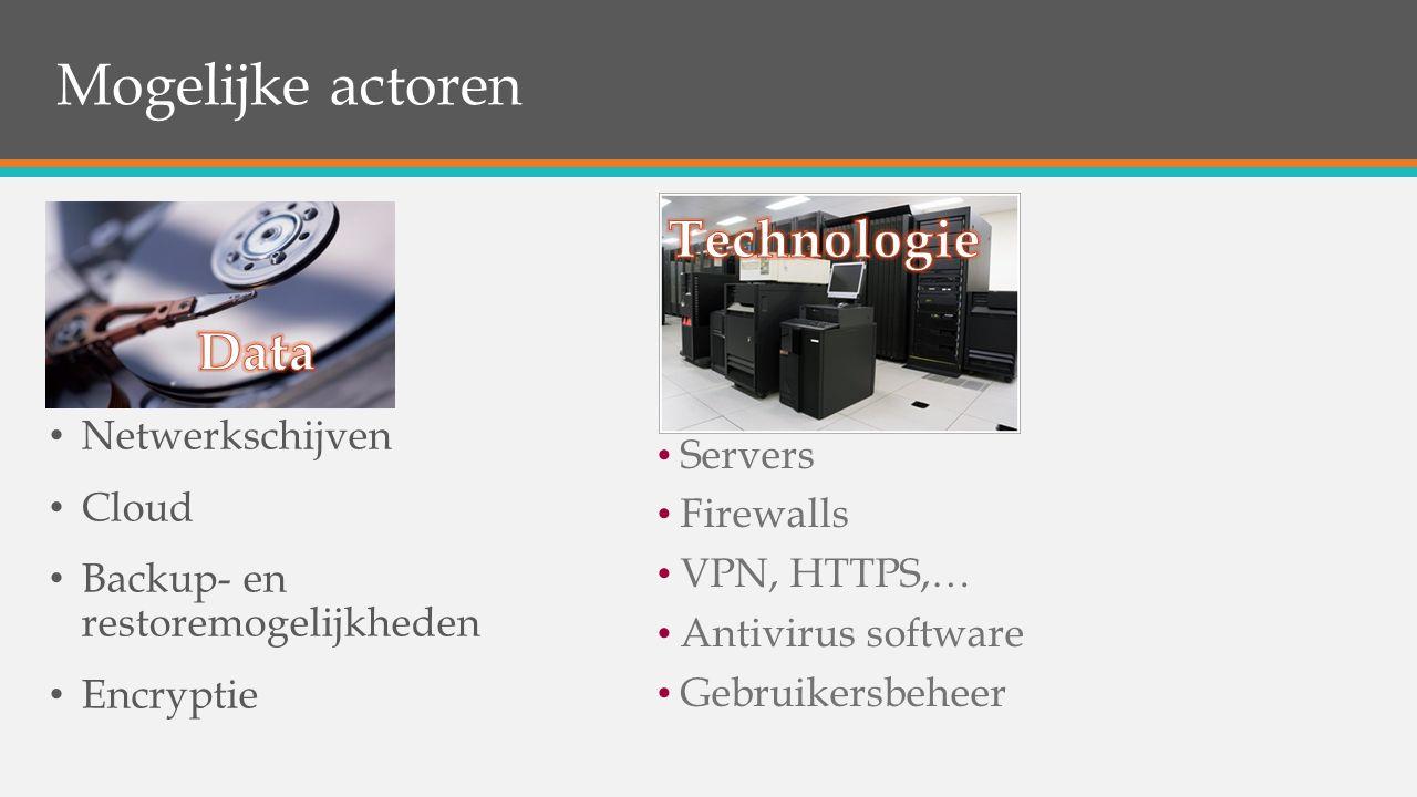 Netwerkschijven Cloud Backup- en restoremogelijkheden Encryptie … Servers Firewalls VPN, HTTPS,… Antivirus software Gebruikersbeheer Mogelijke actoren