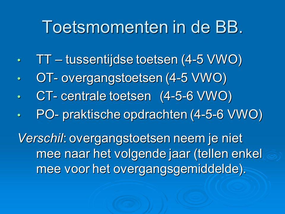 Toetsmomenten in de BB. TT – tussentijdse toetsen (4-5 VWO) TT – tussentijdse toetsen (4-5 VWO) OT- overgangstoetsen (4-5 VWO) OT- overgangstoetsen (4