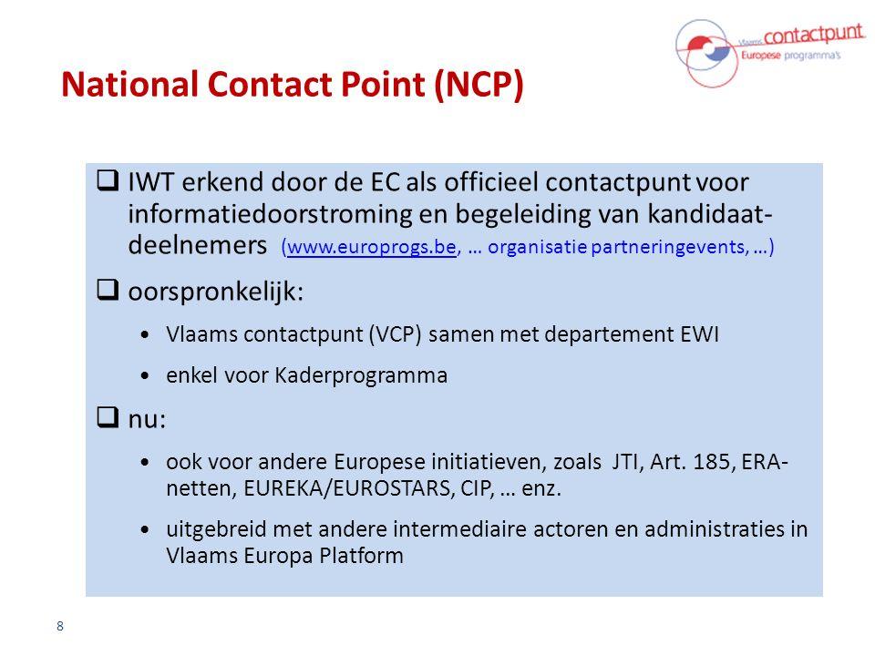 National Contact Point (NCP)  IWT erkend door de EC als officieel contactpunt voor informatiedoorstroming en begeleiding van kandidaat- deelnemers (www.europrogs.be, … organisatie partneringevents, …)www.europrogs.be  oorspronkelijk: Vlaams contactpunt (VCP) samen met departement EWI enkel voor Kaderprogramma  nu: ook voor andere Europese initiatieven, zoals JTI, Art.