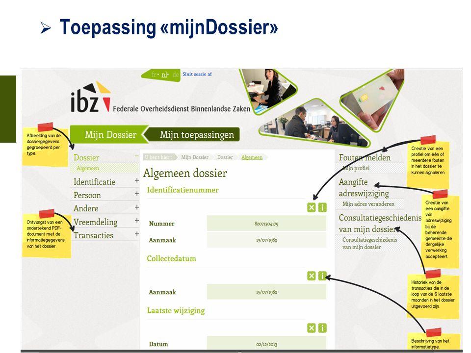  Toepassing «mijnDossier» 21 oktober 2015