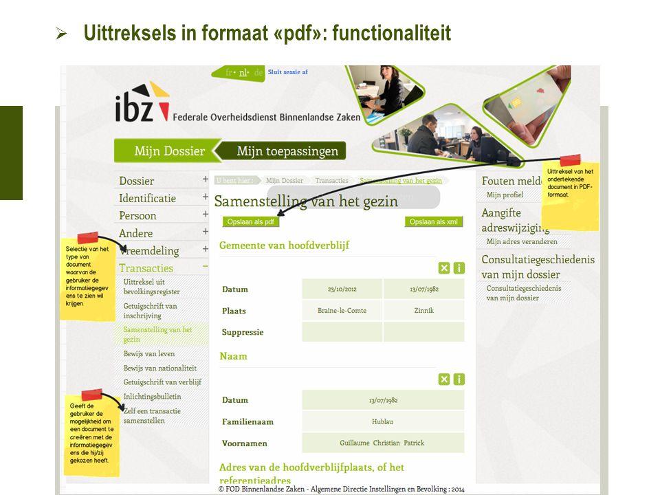  Uittreksels in formaat «pdf»: functionaliteit 21 oktober 2015