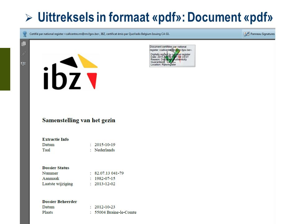  Uittreksels in formaat «pdf»: Document «pdf» 21 oktober 2015