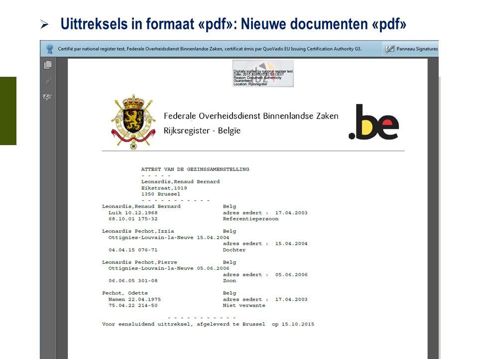  Uittreksels in formaat «pdf»: Nieuwe documenten «pdf» 21 oktober 2015