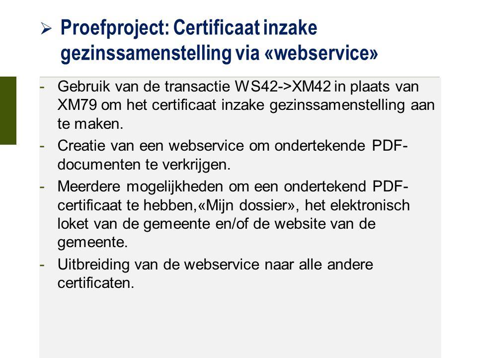  Proefproject: Certificaat inzake gezinssamenstelling via «webservice» 21 oktober 2015 -Gebruik van de transactie WS42->XM42 in plaats van XM79 om het certificaat inzake gezinssamenstelling aan te maken.