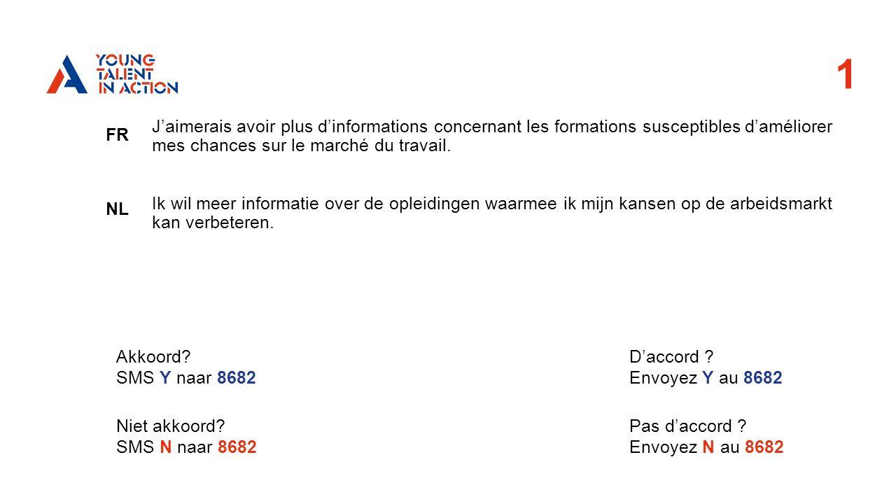 1 FR NL J'aimerais avoir plus d'informations concernant les formations susceptibles d'améliorer mes chances sur le marché du travail.