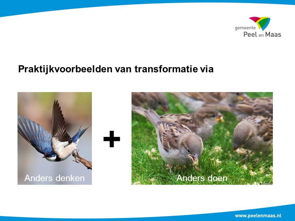 Praktijkvoorbeelden van transformatie via + Anders denkenAnders doen