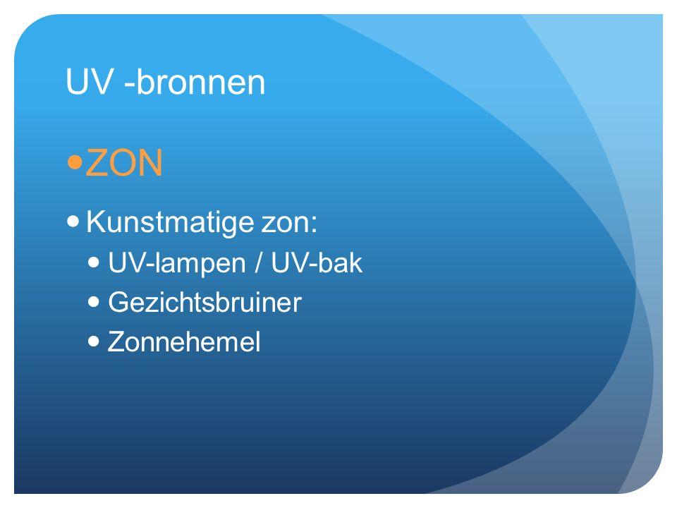UV -bronnen ZON Kunstmatige zon: UV-lampen / UV-bak Gezichtsbruiner Zonnehemel