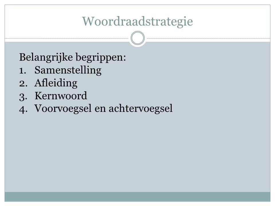 Woordraadstrategie Belangrijke begrippen: 1.Samenstelling 2.Afleiding 3.Kernwoord 4.Voorvoegsel en achtervoegsel