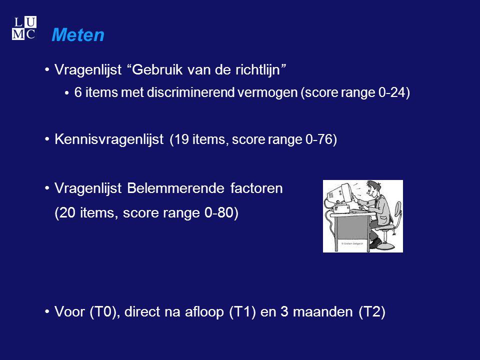 Meten Vragenlijst Gebruik van de richtlijn 6 items met discriminerend vermogen (score range 0-24) Kennisvragenlijst (19 items, score range 0-76) Vragenlijst Belemmerende factoren (20 items, score range 0-80) Voor (T0), direct na afloop (T1) en 3 maanden (T2)