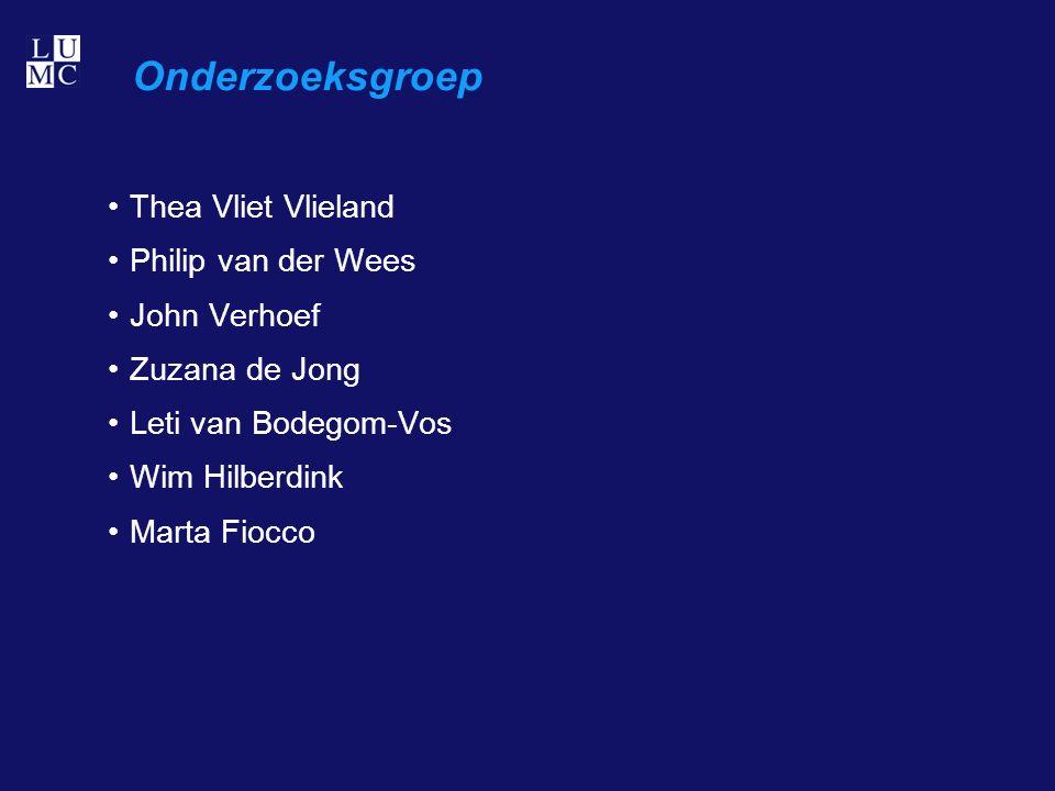 Onderzoeksgroep Thea Vliet Vlieland Philip van der Wees John Verhoef Zuzana de Jong Leti van Bodegom-Vos Wim Hilberdink Marta Fiocco