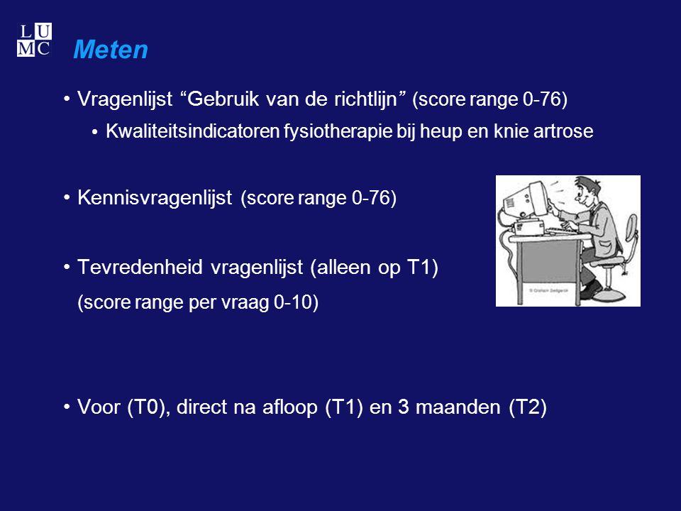 Meten Vragenlijst Gebruik van de richtlijn (score range 0-76) Kwaliteitsindicatoren fysiotherapie bij heup en knie artrose Kennisvragenlijst (score range 0-76) Tevredenheid vragenlijst (alleen op T1) (score range per vraag 0-10) Voor (T0), direct na afloop (T1) en 3 maanden (T2)