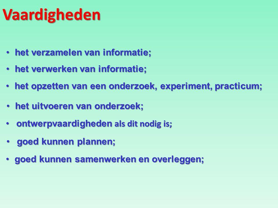 Vaardigheden het verzamelen van informatie;het verzamelen van informatie; het verwerken van informatie;het verwerken van informatie; het opzetten van een onderzoek, experiment, practicum;het opzetten van een onderzoek, experiment, practicum; goed kunnen samenwerken en overleggen;goed kunnen samenwerken en overleggen; ontwerpvaardigheden als dit nodig is;ontwerpvaardigheden als dit nodig is; het uitvoeren van onderzoek;het uitvoeren van onderzoek; goed kunnen plannen;goed kunnen plannen;