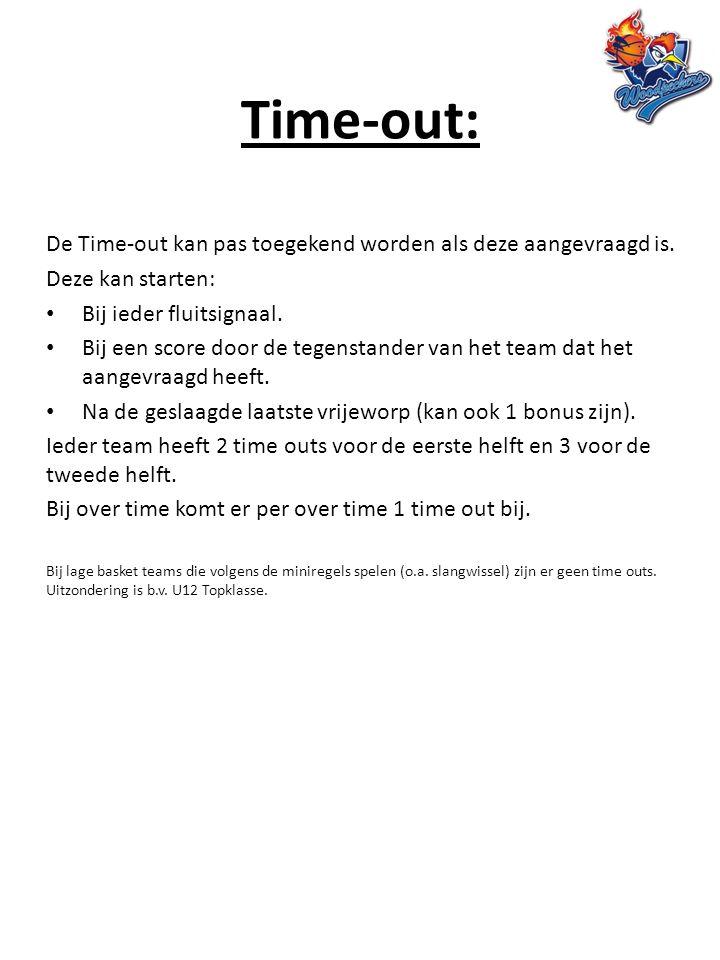 Time-out: De Time-out kan pas toegekend worden als deze aangevraagd is. Deze kan starten: Bij ieder fluitsignaal. Bij een score door de tegenstander v