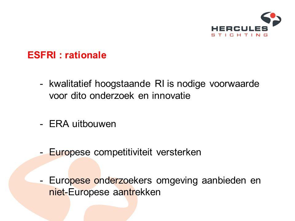 ESFRI : rationale -kwalitatief hoogstaande RI is nodige voorwaarde voor dito onderzoek en innovatie -ERA uitbouwen -Europese competitiviteit versterke