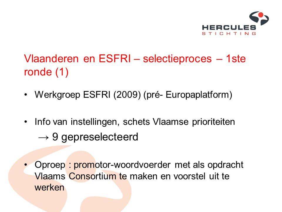 Vlaanderen en ESFRI – selectieproces – 1ste ronde (1) Werkgroep ESFRI (2009) (pré- Europaplatform) Info van instellingen, schets Vlaamse prioriteiten