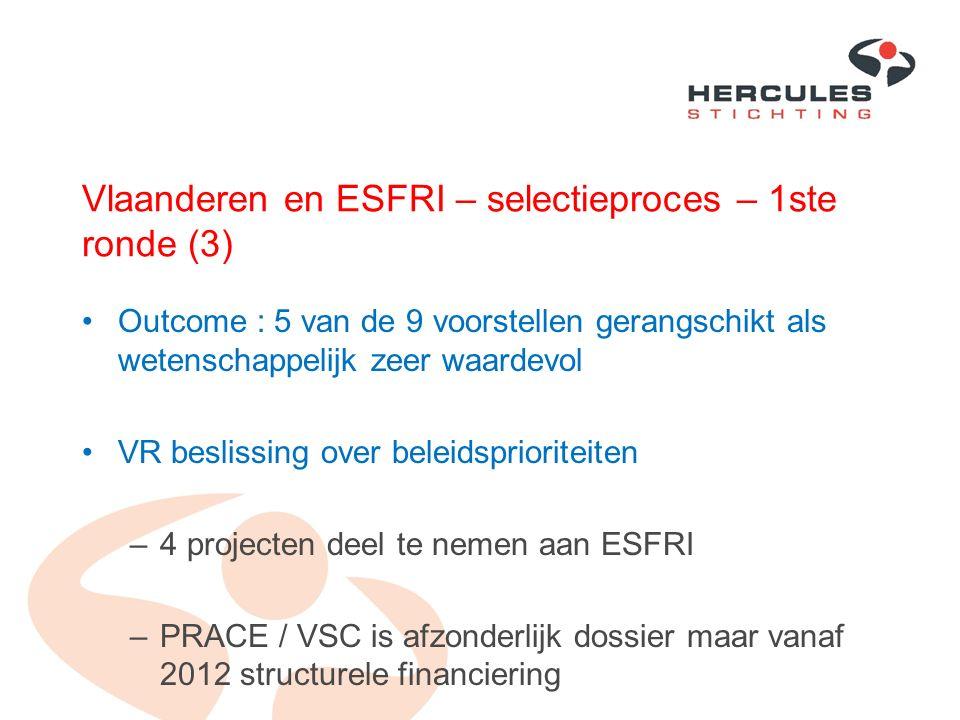 Vlaanderen en ESFRI – selectieproces – 1ste ronde (3) Outcome : 5 van de 9 voorstellen gerangschikt als wetenschappelijk zeer waardevol VR beslissing