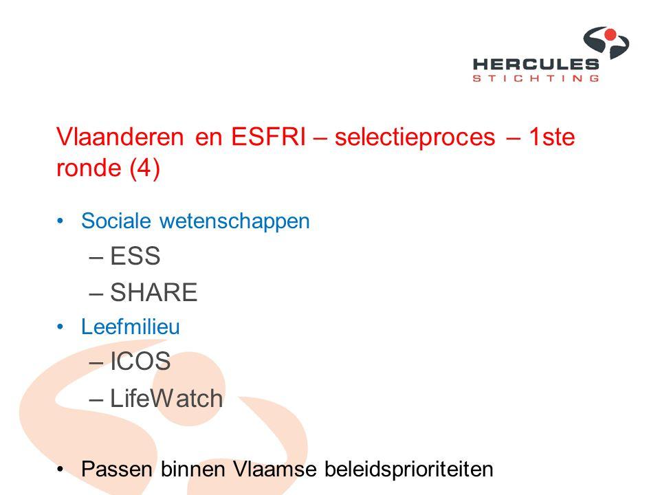 Vlaanderen en ESFRI – selectieproces – 1ste ronde (4) Sociale wetenschappen –ESS –SHARE Leefmilieu –ICOS –LifeWatch Passen binnen Vlaamse beleidsprior