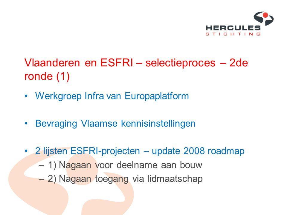 Vlaanderen en ESFRI – selectieproces – 2de ronde (1) Werkgroep Infra van Europaplatform Bevraging Vlaamse kennisinstellingen 2 lijsten ESFRI-projecten