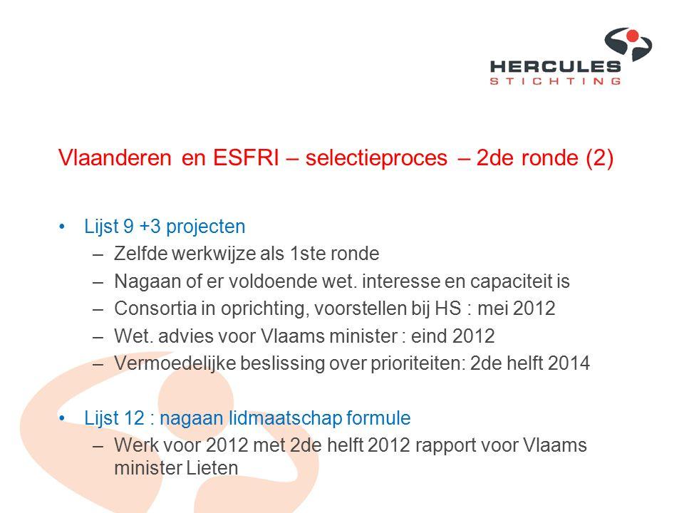 Vlaanderen en ESFRI – selectieproces – 2de ronde (2) Lijst 9 +3 projecten –Zelfde werkwijze als 1ste ronde –Nagaan of er voldoende wet. interesse en c