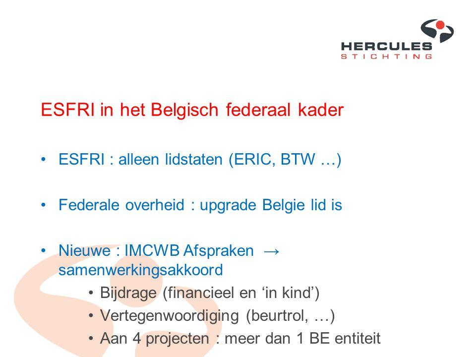 ESFRI in het Belgisch federaal kader ESFRI : alleen lidstaten (ERIC, BTW …) Federale overheid : upgrade Belgie lid is Nieuwe : IMCWB Afspraken → samen