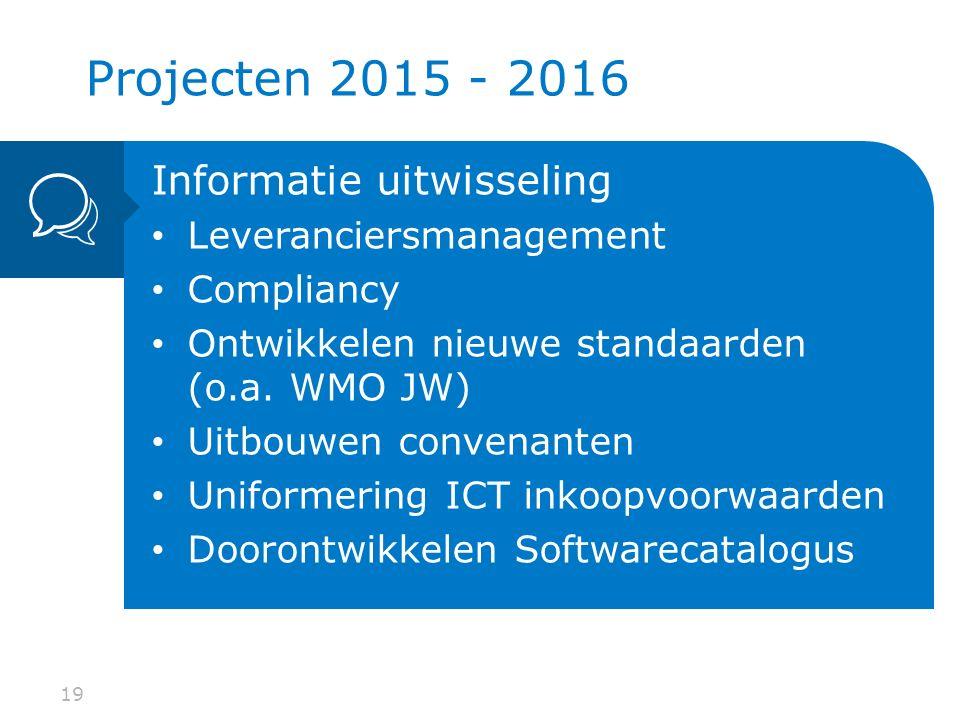 19 Informatie uitwisseling Leveranciersmanagement Compliancy Ontwikkelen nieuwe standaarden (o.a.