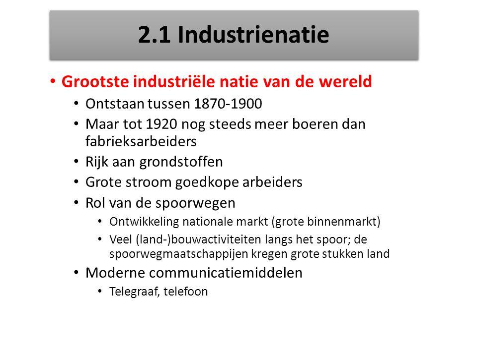 2.1 Industrienatie Grootste industriële natie van de wereld Ontstaan tussen 1870-1900 Maar tot 1920 nog steeds meer boeren dan fabrieksarbeiders Rijk