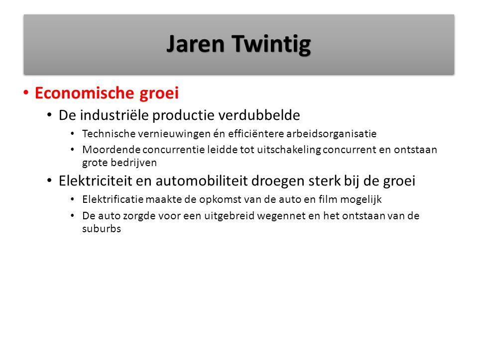 Jaren Twintig Economische groei De industriële productie verdubbelde Technische vernieuwingen én efficiëntere arbeidsorganisatie Moordende concurrenti