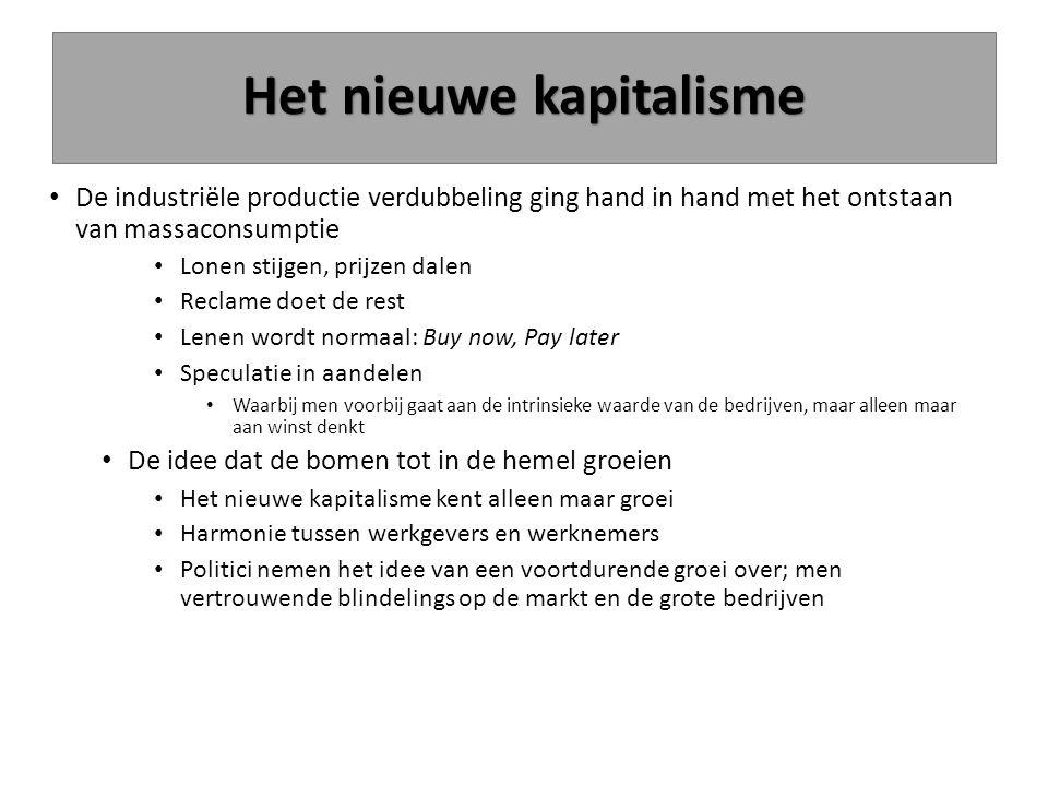 Het nieuwe kapitalisme De industriële productie verdubbeling ging hand in hand met het ontstaan van massaconsumptie Lonen stijgen, prijzen dalen Recla