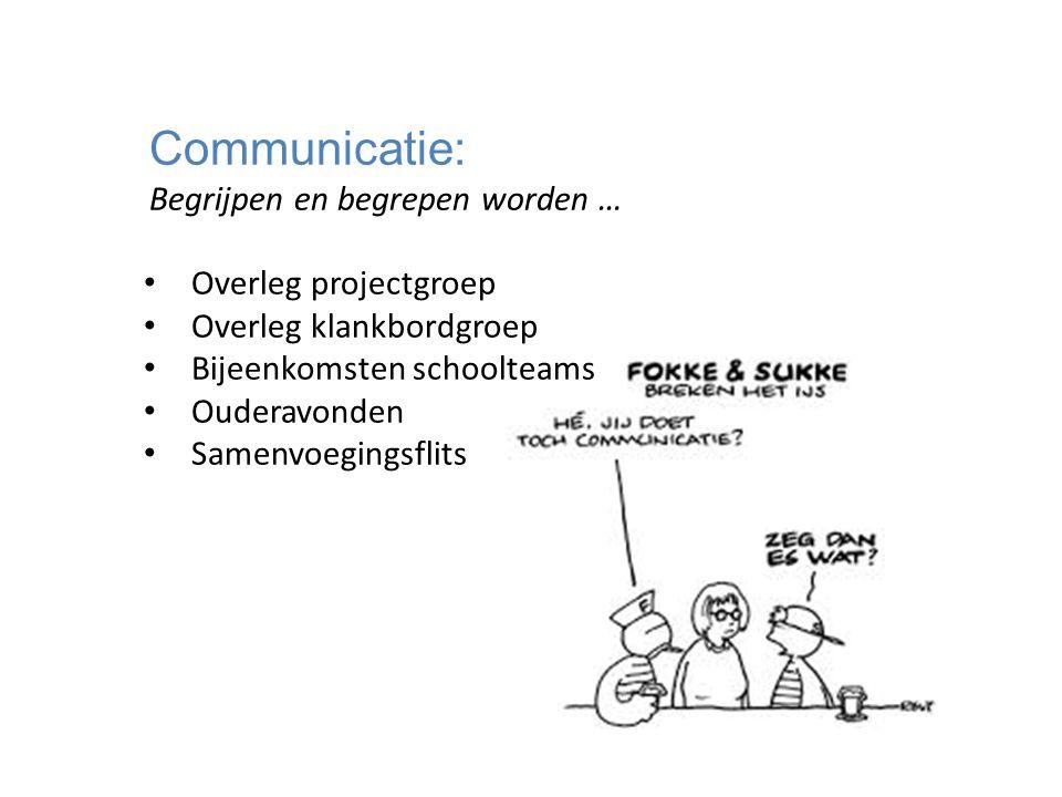 Communicatie: Begrijpen en begrepen worden … Overleg projectgroep Overleg klankbordgroep Bijeenkomsten schoolteams Ouderavonden Samenvoegingsflits