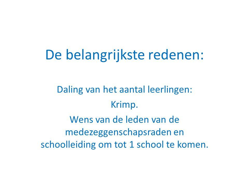 De belangrijkste redenen: Daling van het aantal leerlingen: Krimp.