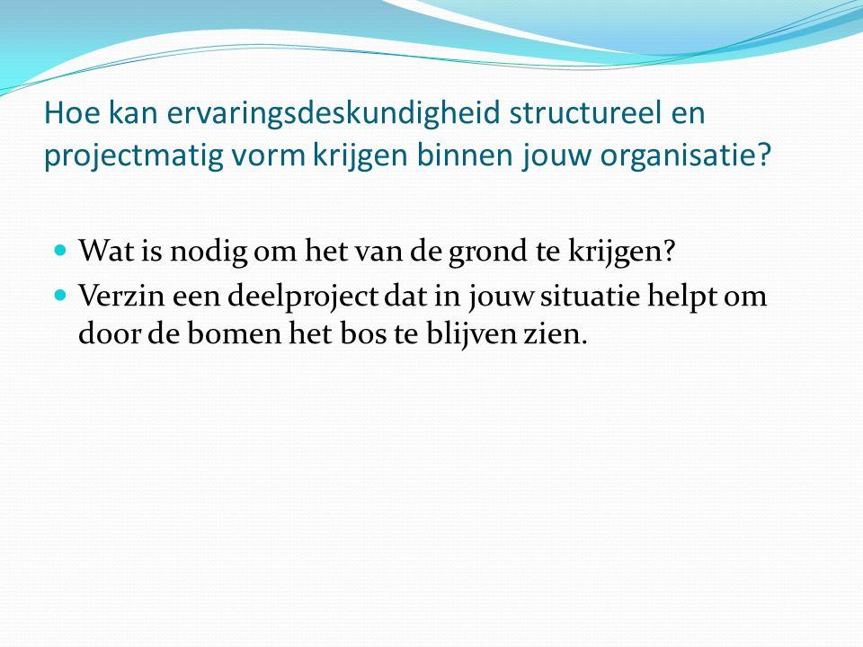 Hoe kan ervaringsdeskundigheid structureel en projectmatig vorm krijgen binnen jouw organisatie? Wat is nodig om het van de grond te krijgen? Verzin e
