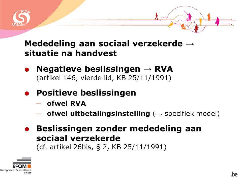 Mededeling aan sociaal verzekerde → situatie na handvest  Negatieve beslissingen → RVA (artikel 146, vierde lid, KB 25/11/1991)  Positieve beslissingen ─ ofwel RVA ─ ofwel uitbetalingsinstelling ( → specifiek model)  Beslissingen zonder mededeling aan sociaal verzekerde (cf.