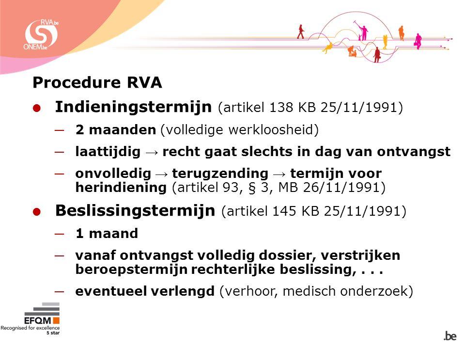 Procedure RVA  Indieningstermijn (artikel 138 KB 25/11/1991) ─ 2 maanden (volledige werkloosheid) ─ laattijdig → recht gaat slechts in dag van ontvangst ─ onvolledig → terugzending → termijn voor herindiening (artikel 93, § 3, MB 26/11/1991)  Beslissingstermijn (artikel 145 KB 25/11/1991) ─ 1 maand ─ vanaf ontvangst volledig dossier, verstrijken beroepstermijn rechterlijke beslissing,...