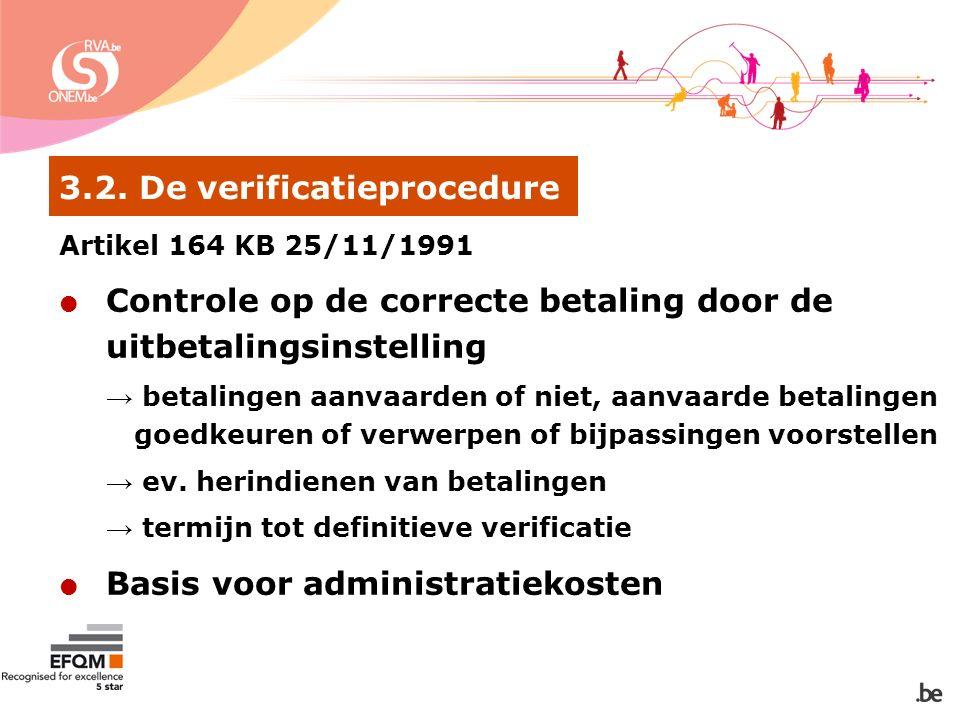 3.2. De verificatieprocedure Artikel 164 KB 25/11/1991  Controle op de correcte betaling door de uitbetalingsinstelling → betalingen aanvaarden of ni