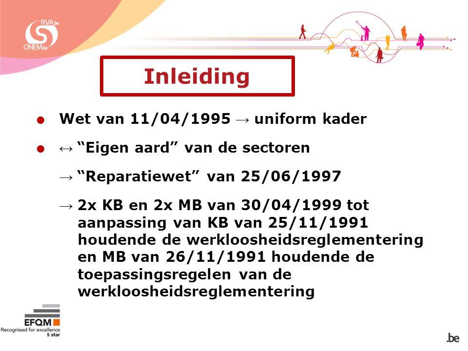  Wet van 11/04/1995 → uniform kader  ↔ Eigen aard van de sectoren → Reparatiewet van 25/06/1997 → 2x KB en 2x MB van 30/04/1999 tot aanpassing van KB van 25/11/1991 houdende de werkloosheidsreglementering en MB van 26/11/1991 houdende de toepassingsregelen van de werkloosheidsreglementering Inleiding