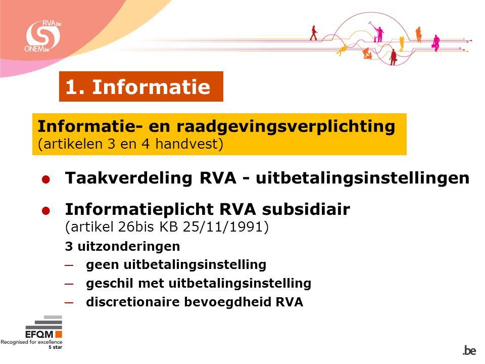 1. Informatie Informatie- en raadgevingsverplichting (artikelen 3 en 4 handvest)  Taakverdeling RVA - uitbetalingsinstellingen  Informatieplicht RVA