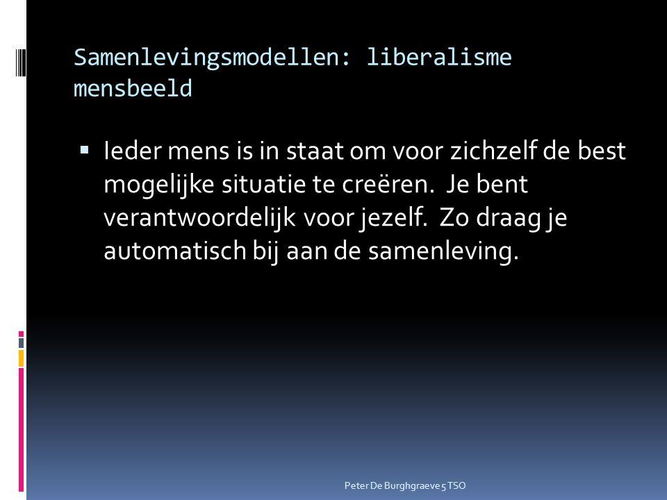 Samenlevingsmodellen: liberalisme mensbeeld  Ieder mens is in staat om voor zichzelf de best mogelijke situatie te creëren.