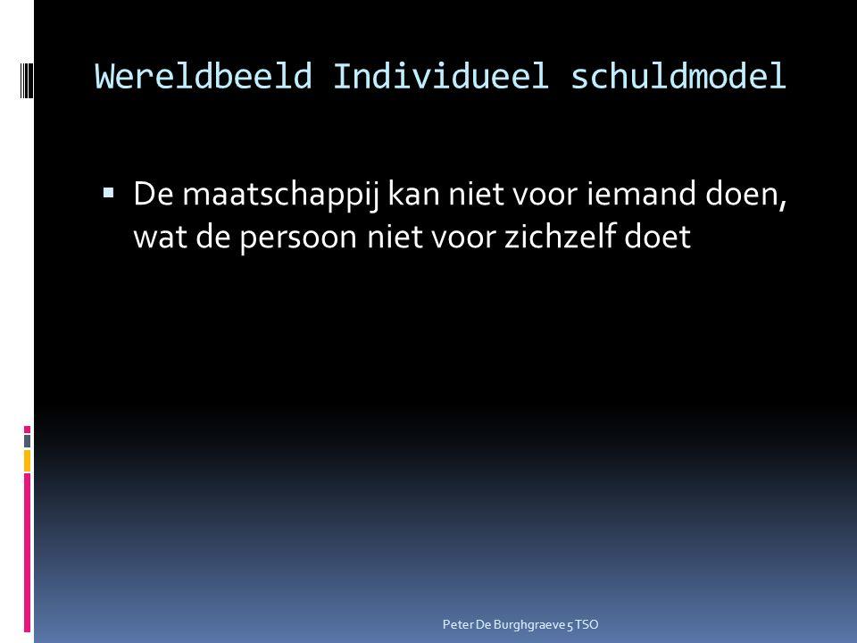 Wereldbeeld Individueel schuldmodel  De maatschappij kan niet voor iemand doen, wat de persoon niet voor zichzelf doet Peter De Burghgraeve 5 TSO