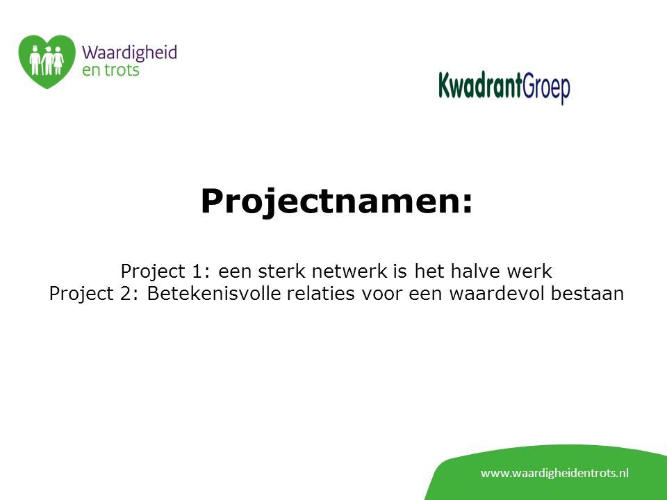 Projectnamen: Project 1: een sterk netwerk is het halve werk Project 2: Betekenisvolle relaties voor een waardevol bestaan www.waardigheidentrots.nl