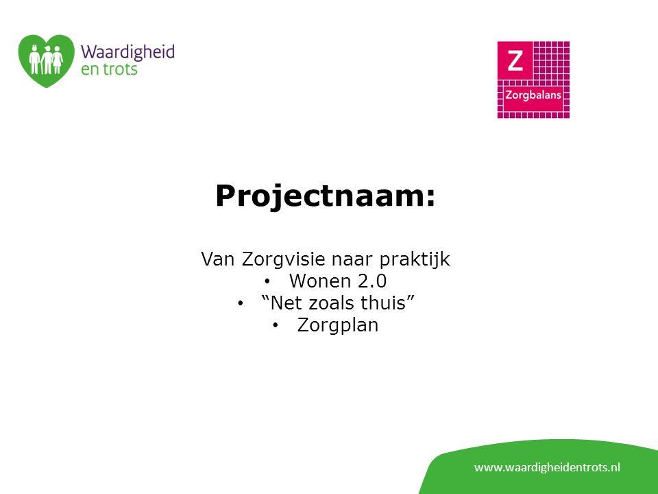 www.waardigheidentrots.nl Projectnaam: Van Zorgvisie naar praktijk Wonen 2.0 Net zoals thuis Zorgplan