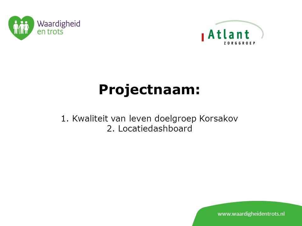 www.waardigheidentrots.nl Projectnaam: 1. Kwaliteit van leven doelgroep Korsakov 2.