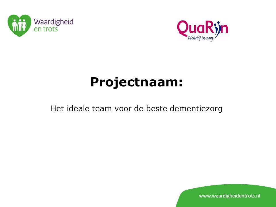 www.waardigheidentrots.nl Projectnaam: Het ideale team voor de beste dementiezorg