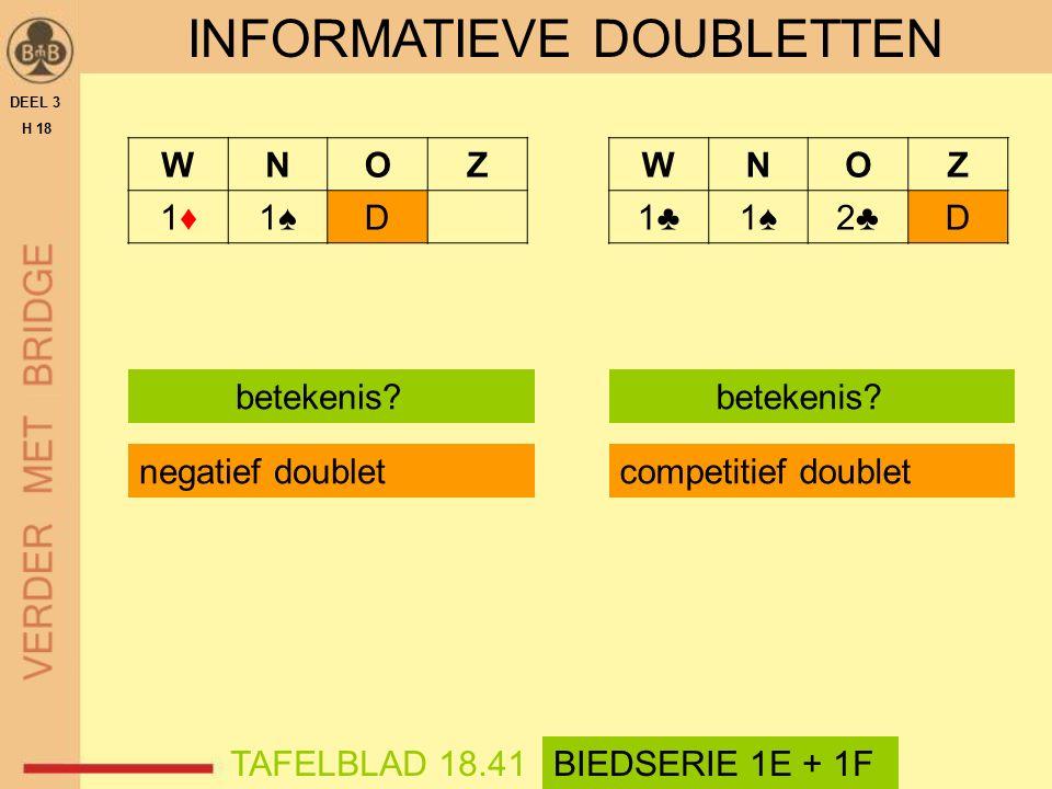 WNOZ 1♦1♦1♠1♠D INFORMATIEVE DOUBLETTEN DEEL 3 H 18 betekenis? TAFELBLAD 18.41BIEDSERIE 1E + 1F negatief doublet WNOZ 1♣1♣1♠1♠2♣2♣D betekenis? competit