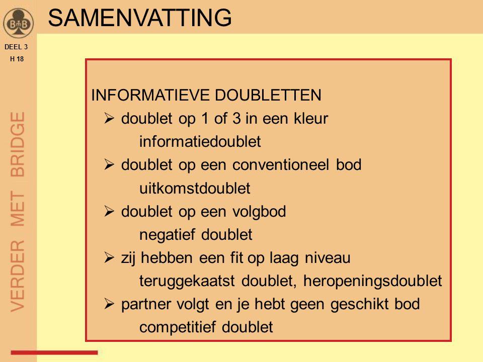 INFORMATIEVE DOUBLETTEN  doublet op 1 of 3 in een kleur informatiedoublet  doublet op een conventioneel bod uitkomstdoublet  doublet op een volgbod negatief doublet  zij hebben een fit op laag niveau teruggekaatst doublet, heropeningsdoublet  partner volgt en je hebt geen geschikt bod competitief doublet DEEL 3 H 18 SAMENVATTING