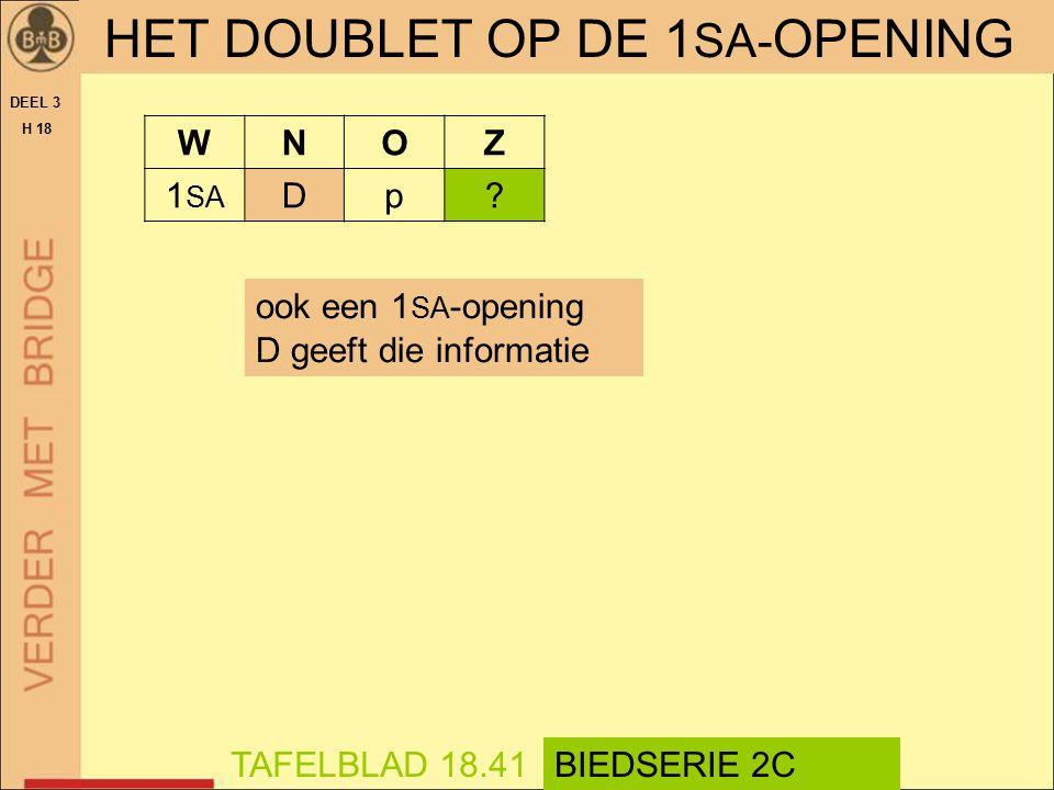 HET DOUBLET OP DE 1 SA- OPENING DEEL 3 H 18 ook een 1 SA -opening D geeft die informatie TAFELBLAD 18.41BIEDSERIE 2C WNOZ 1 SA Dp