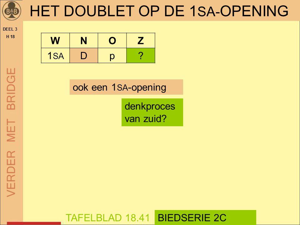 HET DOUBLET OP DE 1 SA- OPENING DEEL 3 H 18 denkproces van zuid? TAFELBLAD 18.41BIEDSERIE 2C ook een 1 SA -opening WNOZ 1 SA Dp?